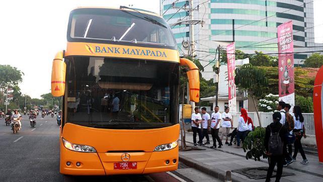 Bus tingkat bantuan Bank Mayapada untuk Pemkot Surabaya yang akan mulai beroperasi untuk umum besok, Rabu (5/9/2018) dengan masa uji coba trayek selama dua minggu. Foto Humas Pemkot Surabaya