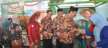 Wakil Bupati dan Kadispendik Gresik saat mengunjungi stand sekolah