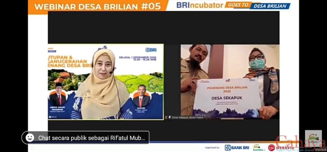 Melalui daring Kades Sekapuk Abdul Halim Iskandar saat menerima penghargaan Juara 1 Desa Brilian se-Indonesia
