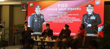 Kapolres Gresik AKBP Arief Fitrianto saat menggelar FGD bersama Parpol dan Ormas Kepemudaan serta elemen masyarakat lainnya.