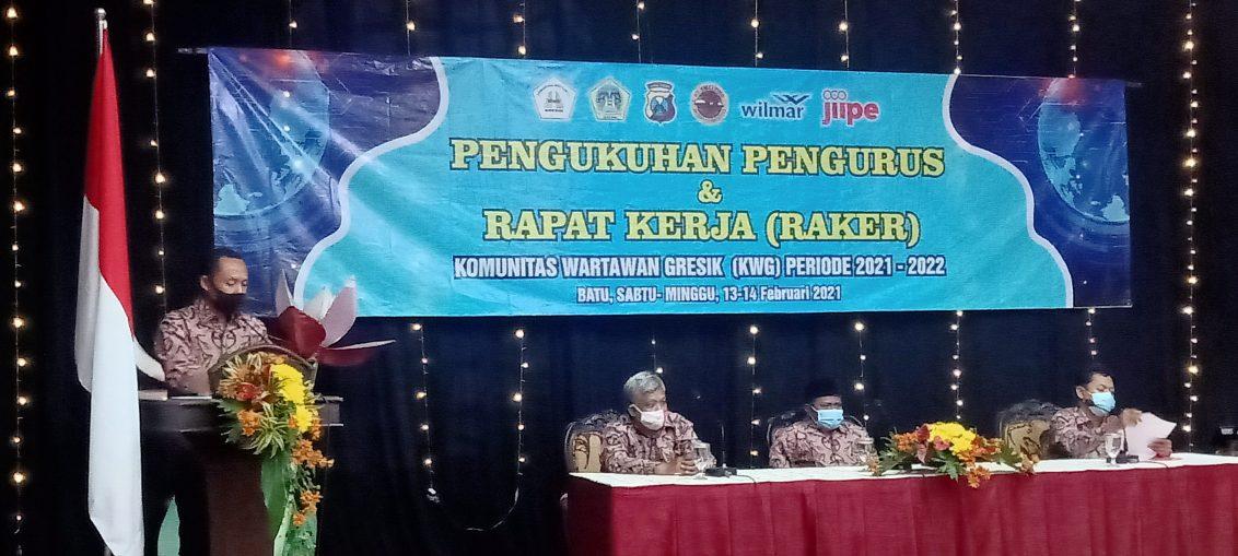 Ketua KWG periode 2020-2022 Syuhud Almanfaluty saat melakukan sambutan Raker di Hotel Purnama Kota Batu Jawa Timur