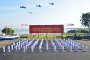 101 Perwira Remaja AAL Angkatan Ke-66 saat Upacara Prasetya Perwira TNI dan Pelantikan Perwira Polri tahun 2021 secara virtual dari Lapangan Aru, Kesatrian AAL Bumimoro, Surabaya